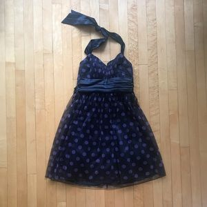 Black and Purple Polka Dot Party Dress